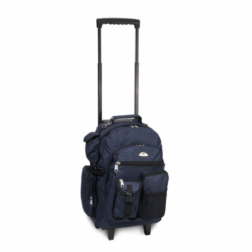 Everest Deluxe Large Wheeled Backpack - Navy Perspective: front