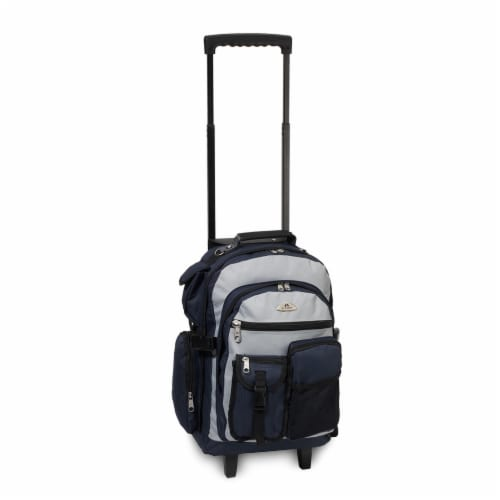 Everest Deluxe Wheeled Backpack - Navy/Gray Perspective: front
