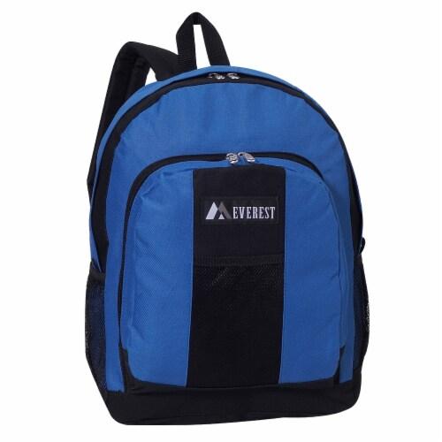Everest Backpack with Front & Side Pockets - Royal Blue / Black Perspective: front