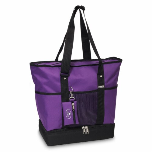 Everest Deluxe Shopping Tote - Dark Purple/Black Perspective: front