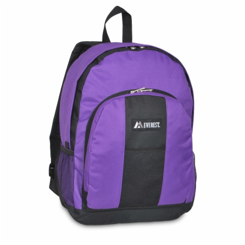 Everest Backpack with Front & Side Pockets - Dark Purple / Black Perspective: front
