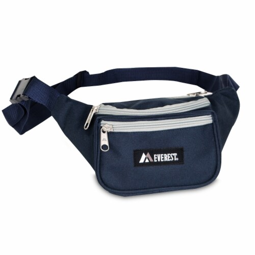 Everest Signature Small Waist Pack - Navy/Gray Perspective: front