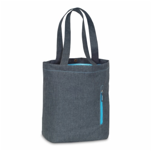 Everest Laptop & Tablet Tote Bag - Charcoal/Blue Perspective: front