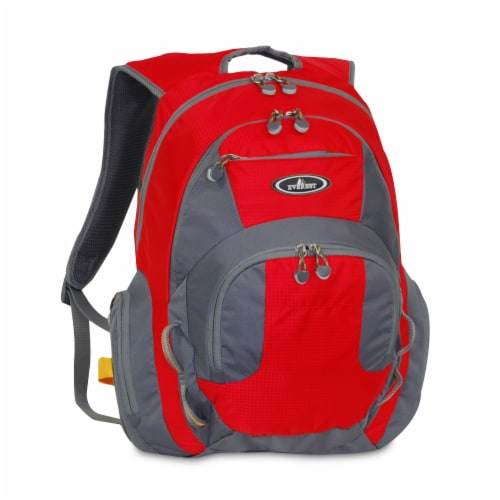 Everest Deluxe Traveler's Laptop Backpack - Red/Gray Perspective: front