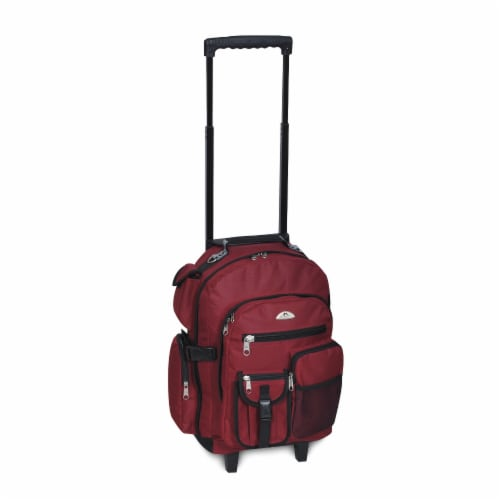 Everest Deluxe Wheeled Backpack - Burgundy Perspective: front