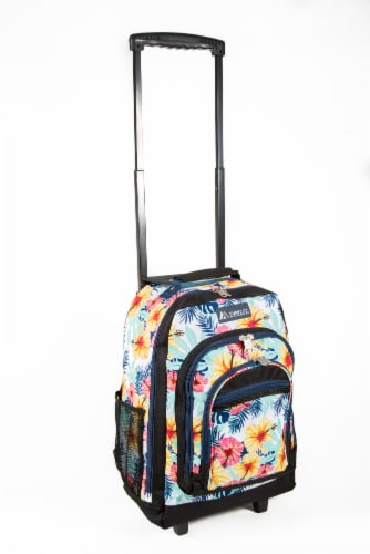 Everest Tropical Pattern Medium Wheeled Backpack Perspective: front