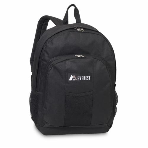 Everest Backpack with Front & Side Pockets - Black Perspective: front
