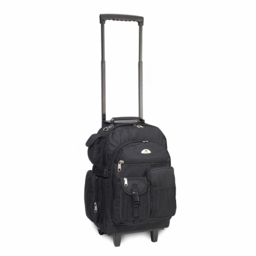 Everest Deluxe Wheeled Backpack - Black Perspective: front