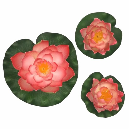 Land & Sea LS1017WLPH Decorative Floating Artificial Lotus Water Lilies, Peach - 3 Piece Perspective: front