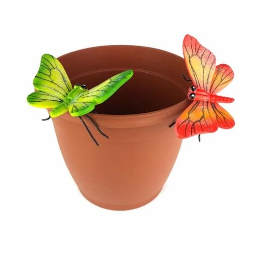 Land & Sea LS11172OG Butterfly Flower Pot Sitter Hanger, Orange & Green - 2 Piece Perspective: front