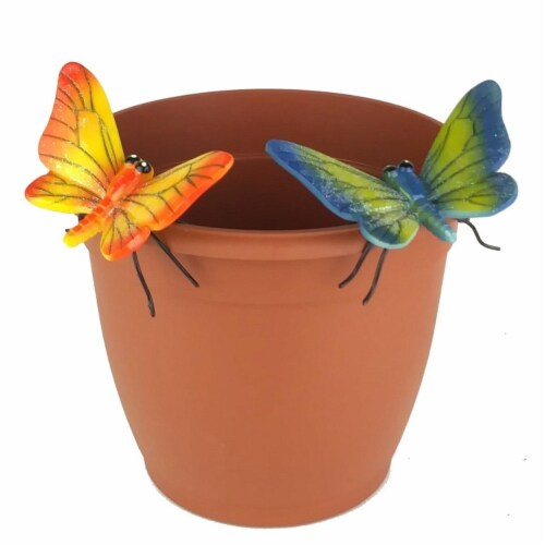 Land & Sea LS11172YB Butterfly Flower Pot Sitter Hanger, Yellow & Blue, 2 Piece Perspective: front