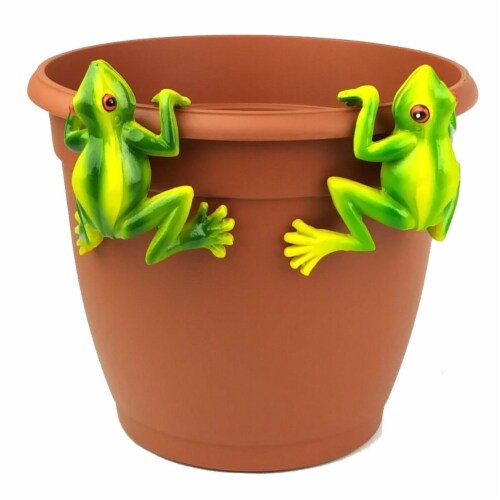 Land & Sea LS11172RE Red Eyed Tree Frog Pot Sitter Hanger, Green - 2 Piece Perspective: front