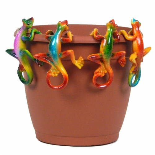 Land & Sea LS1217MGK Multi Colored Gecko Pot Sitter Hanger - 4 Piece Perspective: front