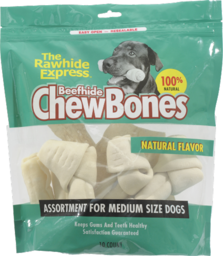 Rawhide Express Natural Flavor Beefhide Chews 10 Count Perspective: front