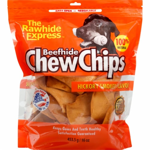 The Rawhide Express Beefhide Hickory Smoked Flavor Chew Chips Perspective: front