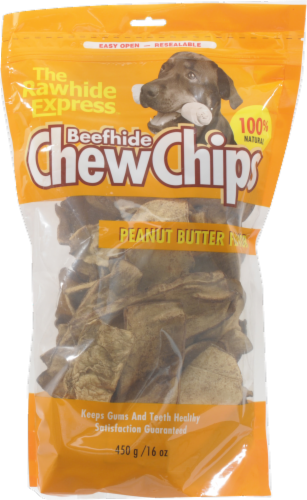 The Rawhide Express Beefhide Peanut Butter Flavor Chew Chips Perspective: front