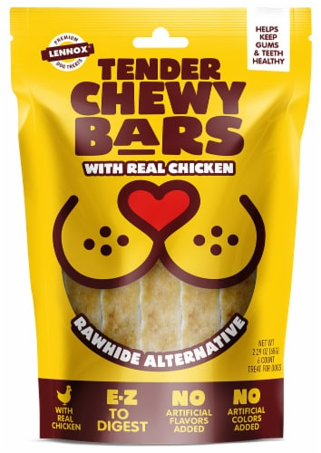 Lennox Tender Chewy Bars with Chicken Dog Treats Perspective: front