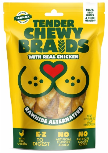 Lennox Tender Chewy Braids with Chicken Dog Treats Perspective: front