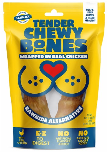 Lennox Tender Chewy Bones with Chicken Dog Treats Perspective: front