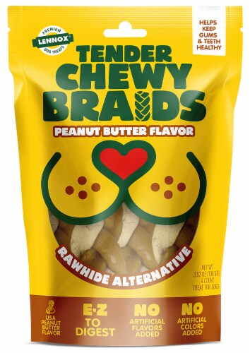 Lennox Tender Chewy Braids Peanut Butter Flavor Dog Treats Perspective: front