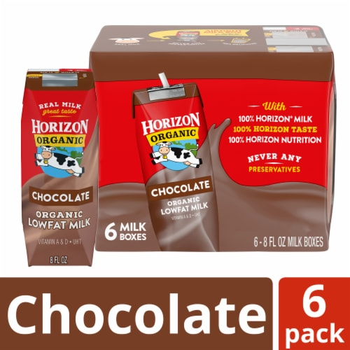 Horizon Organic 1% Chocolate Lowfat Milk 6 Count Perspective: front