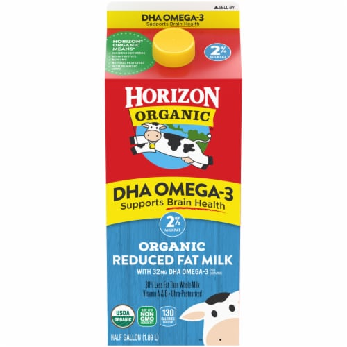 Horizon Organic DHA Omega-3 2% Reduced Fat Milk Perspective: front