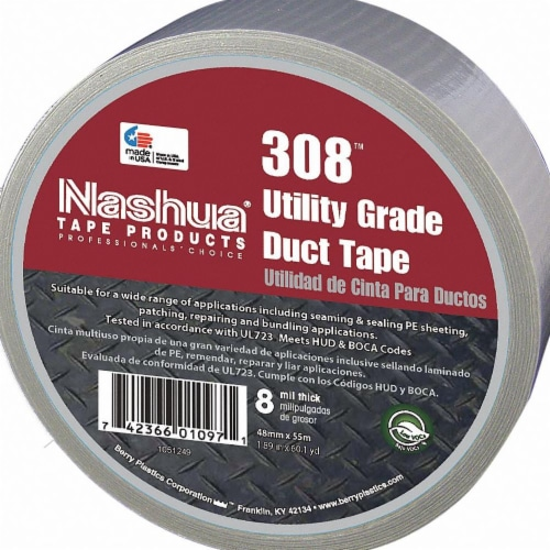 Nashua Duct Tape,Silver,1 7/8 in x 60 yd,8 mil  308 Perspective: front