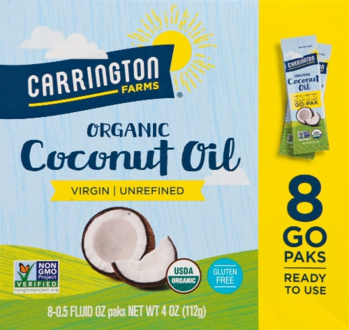 Carrington Farms  Organic Coconut Oil Paks Gluten Free 8 Count Perspective: front