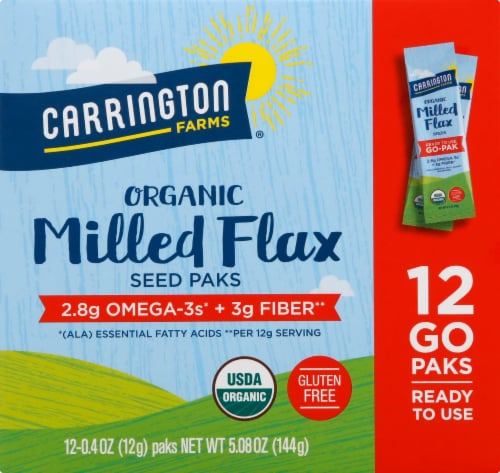 Carrington Farms  Organic Milled Flax Seed Paks Gluten Free 12 Count Perspective: front