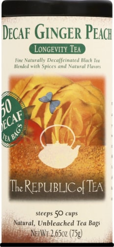 The Republic of Tea Ginger Peach Decaf Tea Bags Perspective: front