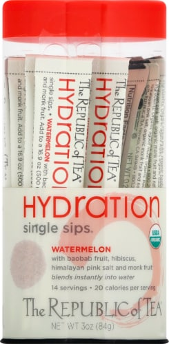 The Republic of Tea Hydration Watermelon Single Sips Perspective: front