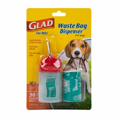 Glad Tropical Breeze Scented Dog Waste Bags and Dispenser Perspective: front