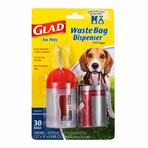 Glad Unscented Dog Waste Bags and Dispenser Perspective: front