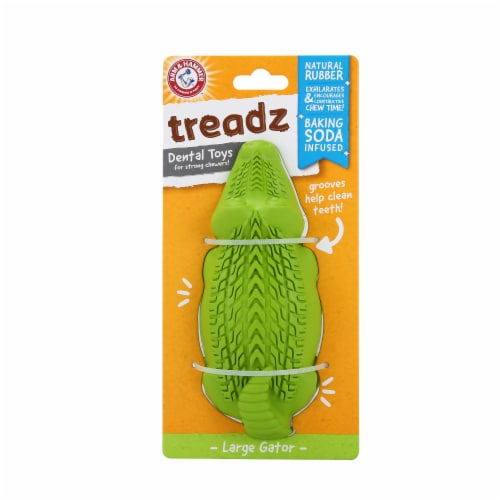 Arm & Hammer Treadz Large Gator Dental Dog Toy Perspective: front