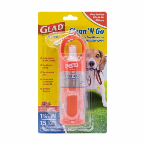 Glad Clean 'n Go Waste Bag Dispenser and Sanitizing Spray Perspective: front