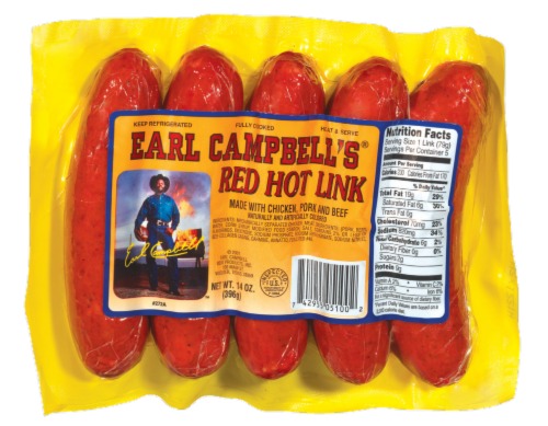 Earl Campbell's Red Hot Link Sausages Perspective: front