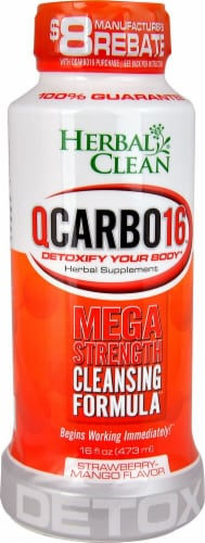Herbal Clean QCARBO16™ Mega Strength Cleansing Formula  Strawberry Mango Perspective: front