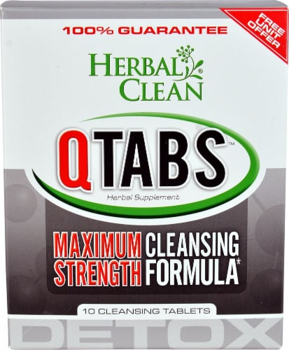 Herbal Clean  Detox QTabs™ Maximum Strength Cleansing Formula Perspective: front