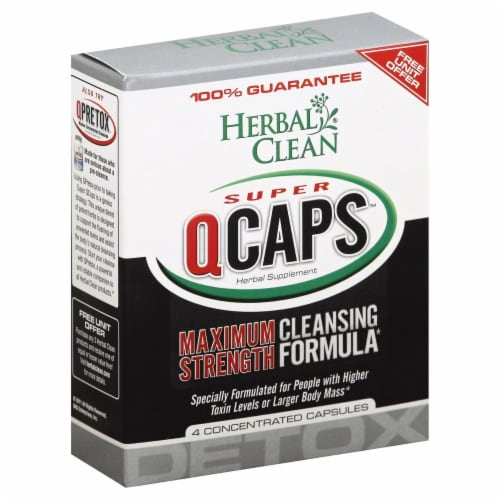 Herbal Clean Super Qcaps Maximum Strength Herbal Supplement Capsules Perspective: front