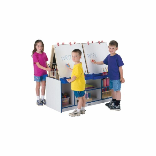 Jonti-Craft 0294JCWW114 Rainbow Accents 4 Station Easel- Orange Perspective: front