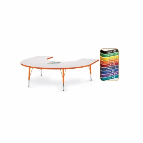 Jonti-Craft 6445JCA008 Rainbow Accents Kydz Activity Table- Horseshoe- 66 inch X 60 inch- 24 Perspective: front