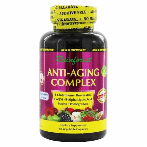 Rainforest Anti-Aging Complex Resveratrol + CoQ10, 60 Vegetarian Capsules Perspective: front