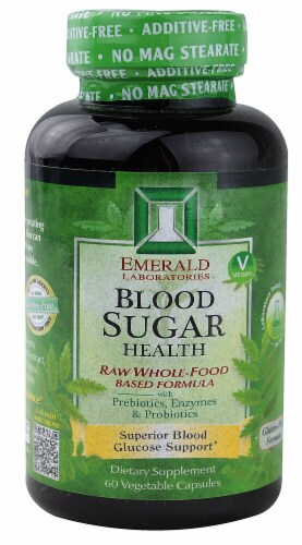 Emerald Labs  Blood Sugar Health Raw Whole Food Based Formula Perspective: front