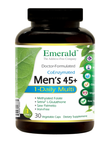 Emerald 1-Daily Men's 45+ Multivitamin Vegetable Caps Perspective: front