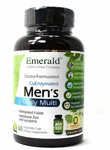 Emerald Labs Men's 1-Daily Multi Vitamin Vegetable Capsules Perspective: front