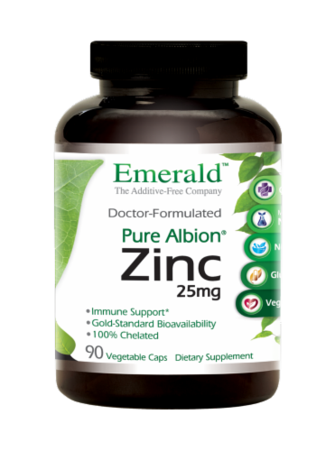 Emerald Pure Albion Zinc Vegetable Caps 25mg Perspective: front