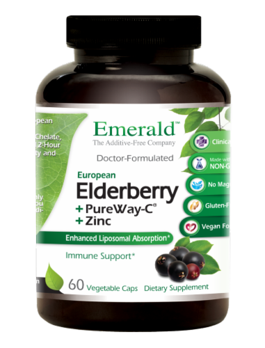 Emerald Elderberry + PureWay-C + Zinc Immune Support Vegetable Caps Perspective: front