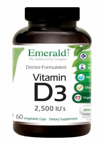 Emerald Labs Vitamin D-3 2500 IU Vegetable Capsules Perspective: front