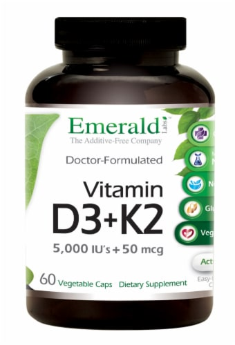 Emerald Lab Vitamin D3 + K2 5000 IU 50 mg Vegetable Capsules Perspective: front