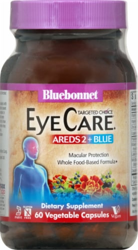 Bluebonnet Nutrition AREDS2 + Blue Macular Protection Dietary Supplement Vegetable Capsules Perspective: front